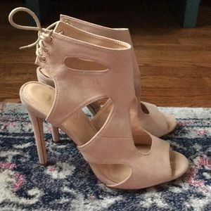 Pale pink cut out heels